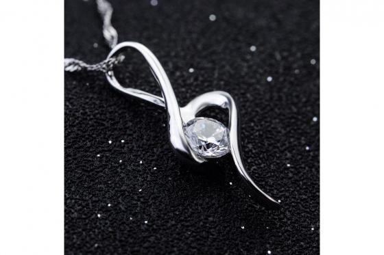 Silber Halskette - mit Zirkonia-Anhänger 1