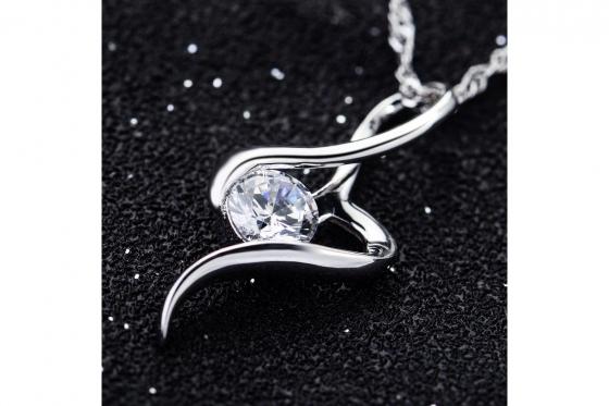 Silber Halskette - mit Zirkonia-Anhänger 2
