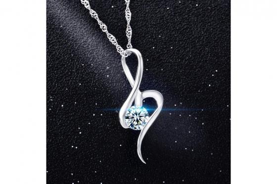 Silber Halskette - mit Zirkonia-Anhänger 3