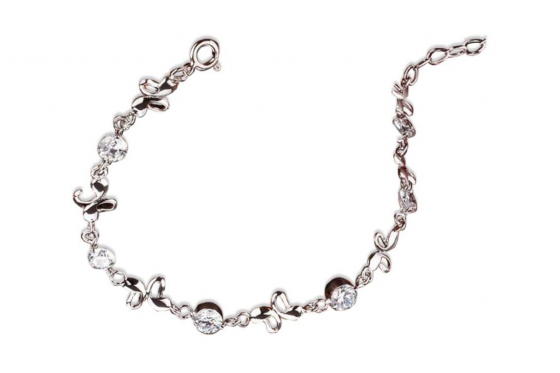 Bracelet en argent papillons - avec pierres de zircon
