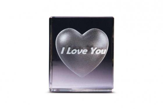 Herz im Glas - mit i love you Schriftzug