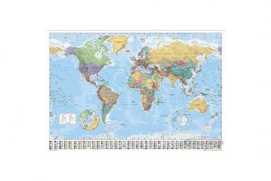 Poster carte du monde XXL - Noms et légendes en anglais