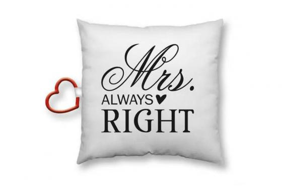 Coussin Mrs. Right - blanc-noir