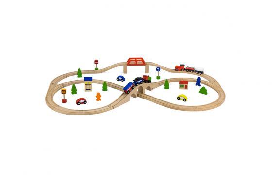Holz Eisenbahn-Set - 49-teilig