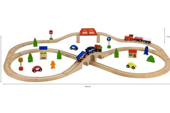 Holz Eisenbahn-Set - 49-teilig 1