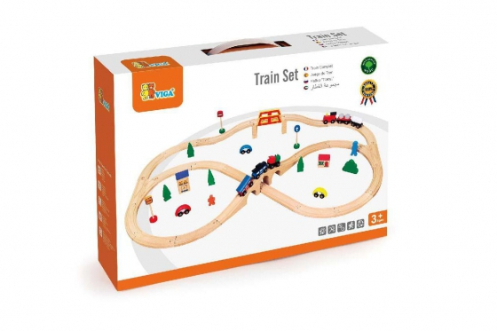 Holz Eisenbahn-Set - 49-teilig 2