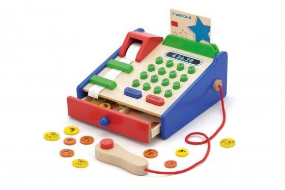 Spielkasse Holz - mit Münzen