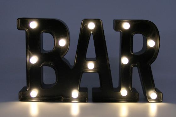 LED Schriftzug - BAR - schwarz