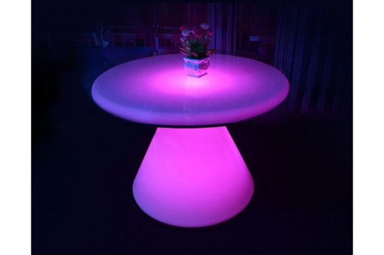 LED Cocktailtisch - 100x100x75cm - inkl. Glasplatte