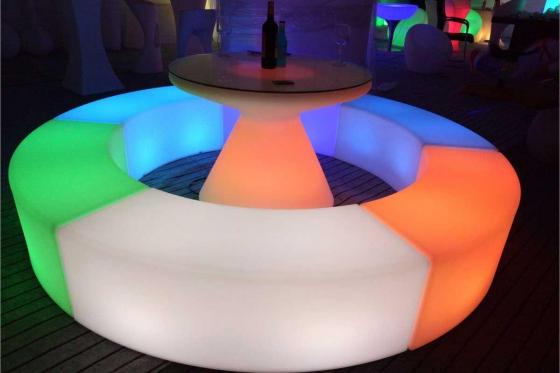 LED Cocktailtisch - 100x100x75cm - inkl. Glasplatte 1