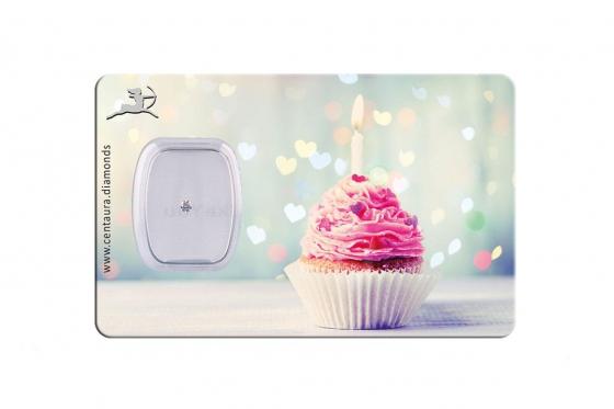 Diamant Geschenkkarte - Happy Birthday Cupcake