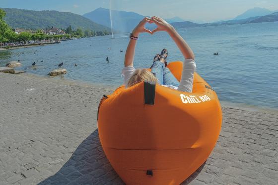 Chill Bag Orange - Lounge gonflable 2