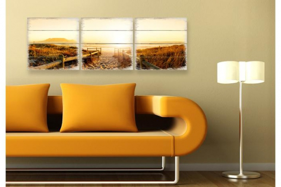 holzbild set sunset at the beach 3 teilig. Black Bedroom Furniture Sets. Home Design Ideas
