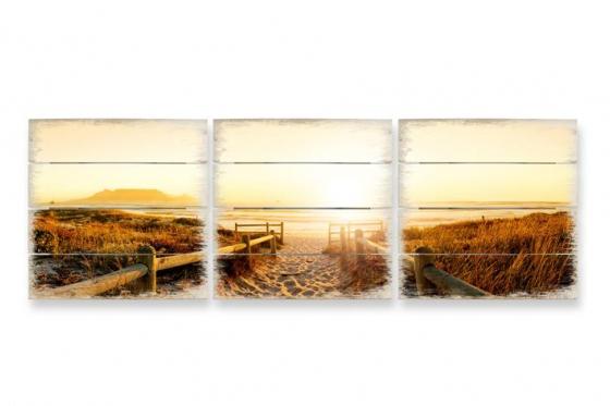 Holzbild - Set Sunset at the Beach (3-teilig)   - 40x41,5cm  1