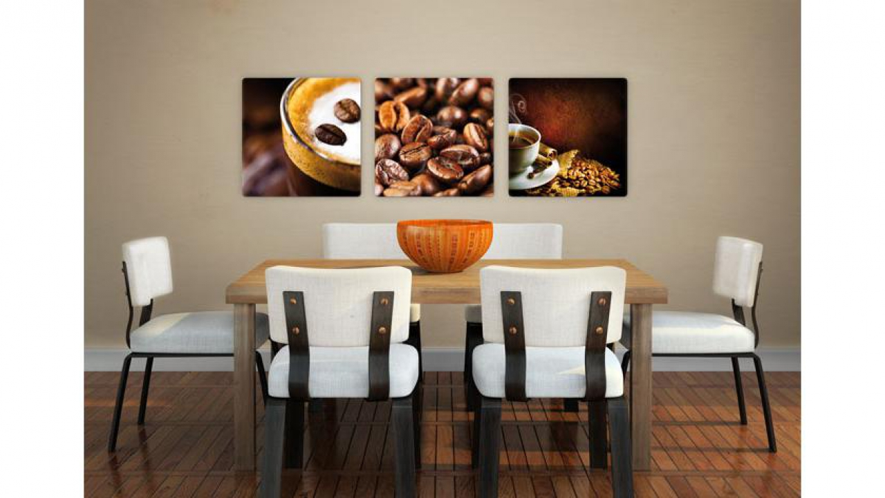 glasbild coffee set 3 teilig. Black Bedroom Furniture Sets. Home Design Ideas