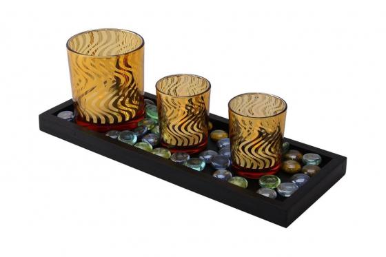 Kerzenständer-Set - mit 3 LED Kerzen