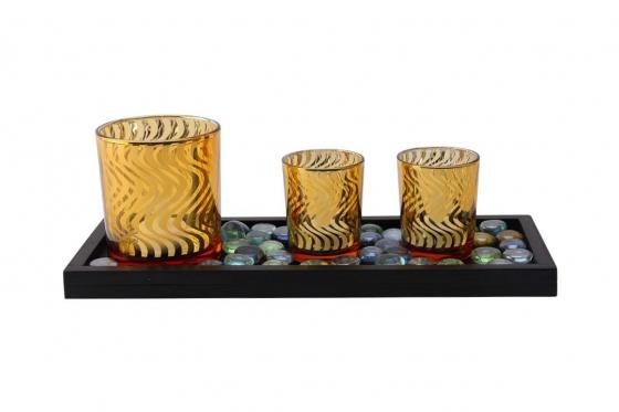 Kerzenständer-Set - mit 3 LED Kerzen 1