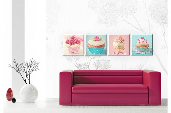 Leinwandbild -  Cupcakes Set (4-teilig)   - in div. Grössen erhältlich