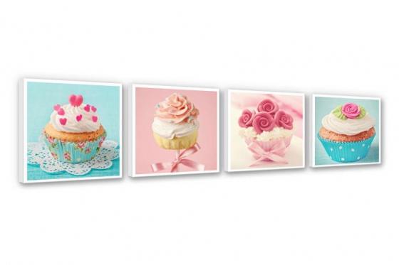 Leinwandbild -  Cupcakes Set (4-teilig)   - in div. Grössen erhältlich 1