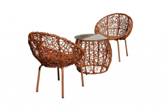 Rattan Bistro Set - 3-teiliges Set 1