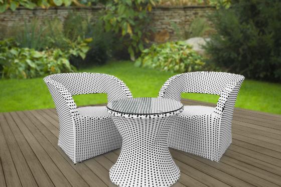 Rattan Bistro Set - Tisch + 2 Stühle