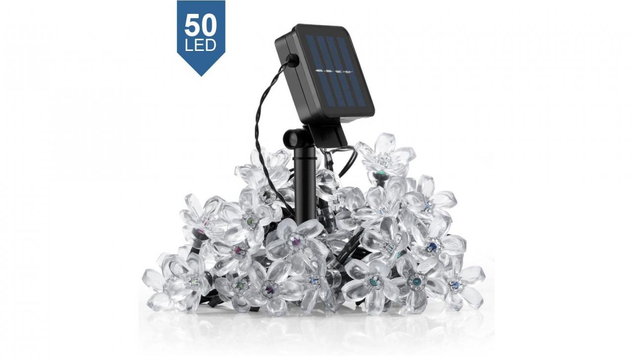 led lichterkette bl ten solar. Black Bedroom Furniture Sets. Home Design Ideas