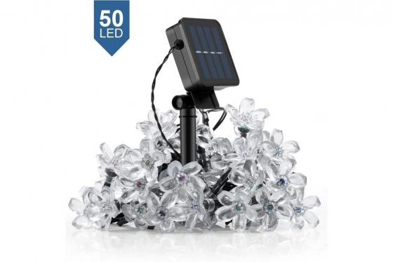 Chaîne de lumières LED - Set de 50 fleurs, solaire 1