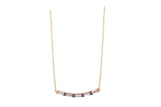 Collier en or rose  - avec zircons