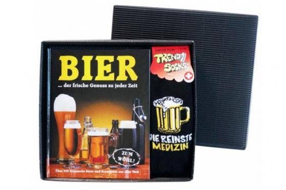 Bierbuch mit Socken - Geschenkbox