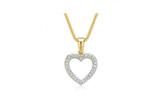 Goldkette mit Herz-Anhänger - mit Diamanten