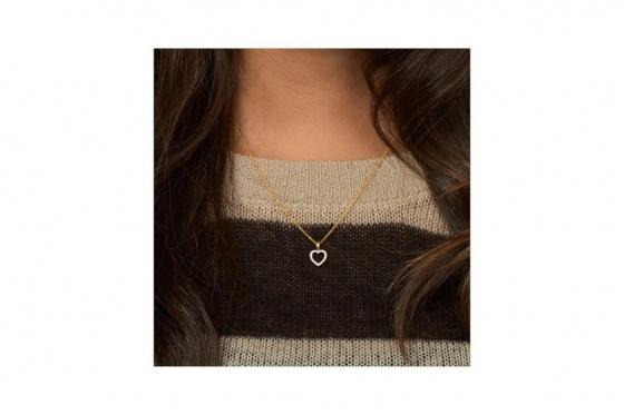 Goldkette mit Herz-Anhänger - mit Diamanten 1