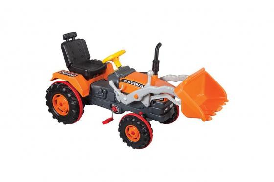 Excavatrice à pédales - couleur orange, pour enfants