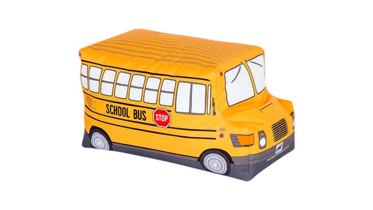 pouf en forme de bus d 39 cole pour enfants cadeaux24. Black Bedroom Furniture Sets. Home Design Ideas