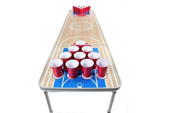 Beer-Pong Tisch - im Basketball Design - 240x60x76 cm