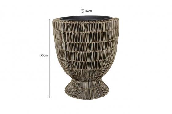 Rattan Blumentopf - 42x42x50 cm - vasenförmig 2