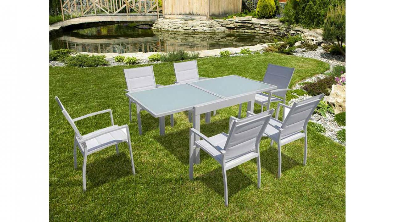 Salon De Jardin Avec Table Extensible Set De 7 Cadeaux24