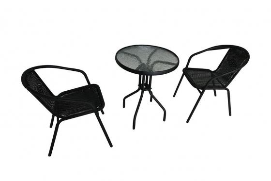 Rattan Bistro-Set - Tisch + 2 Stühle 1