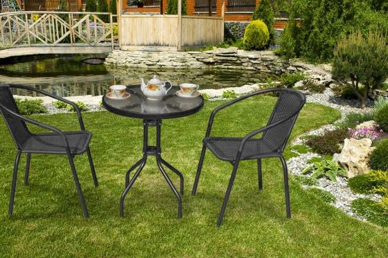 Rattan Bistro-Set - Tisch + 2 Stühle 3