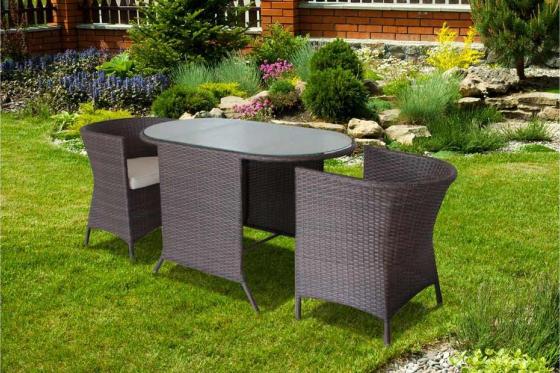 Rattan Bistro-Set - Tisch + 2 Stühle