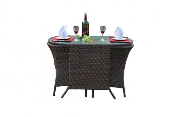 Rattan Bistro-Set - Tisch + 2 Stühle 2