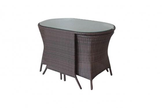 Rattan Bistro-Set - Tisch + 2 Stühle 4