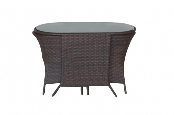 Rattan Bistro-Set - Tisch + 2 Stühle 5