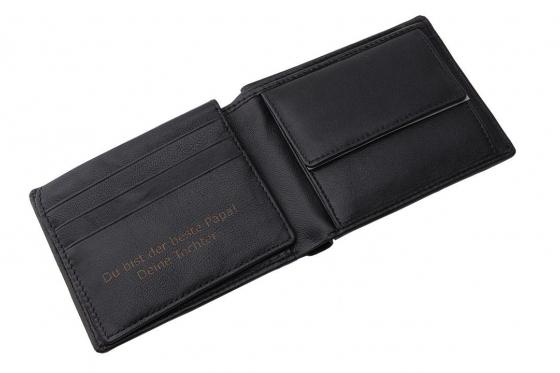 Leder Portemonnaie inkl. RFID-Schutz - mit Lasergravur 1