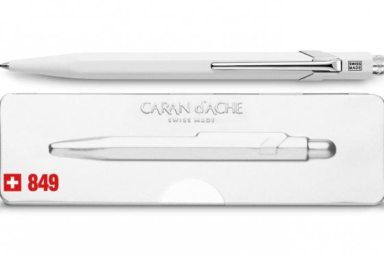 Stylo-bille Caran d'Ache - avec gravure - POPLINE blanc 1