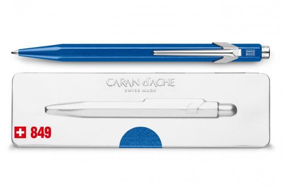 Caran d'Ache Kugelschreiber - mit Gravur - POPLINE metallic blau 1