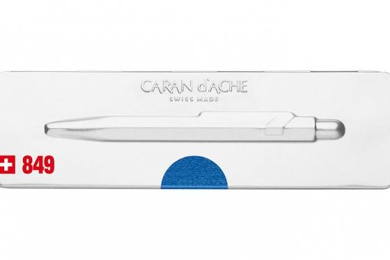 Caran d'Ache Kugelschreiber - mit Gravur - POPLINE metallic blau 3
