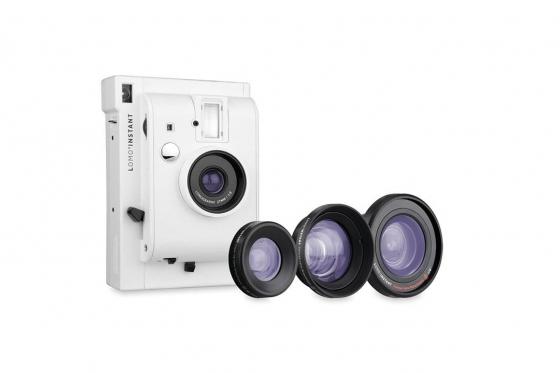 Lomo Instant White Edition - Appareil photo à pellicule + 3 objectifs inclus