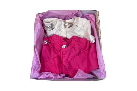 Babybody langarm Schmetterling pink - personalisierbar