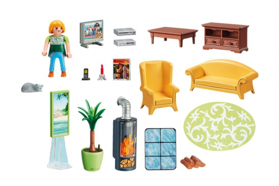 Wohnzimmer mit Kaminofen - Playmobil® Puppenhaus 1