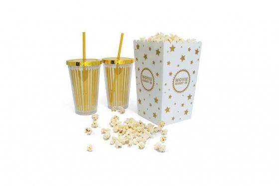 Kino-Set   - mit zwei Bechern und Popkorneimer
